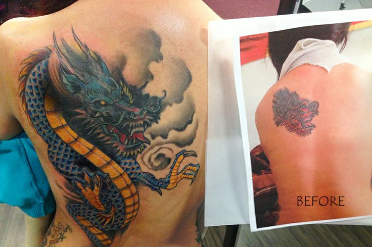 Before and after Dragon backpiece/cover up