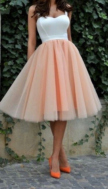 White Bodice Blush Pink Tulle Homecoming Dress,Cheap Bridesmaid