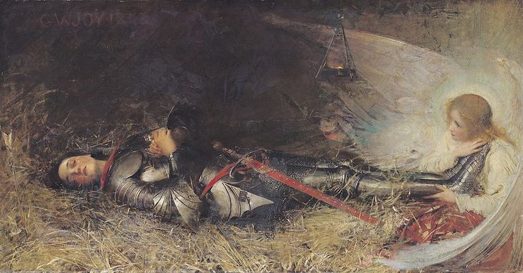 "George William Joy (Irish, 1844 - 1925), ""Joan of Arc Asleep"" (1895):"
