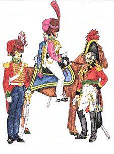 Uniformes de las FF.AA. Peruanas (1825-1980) Ejército Peruano ~1830 de la izquierda a la derecha Granaderos a caballo de El Callao Husares de Junin Ayudante del Estado Mayor Nacional