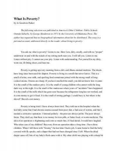 what is poverty by jo goodwin parker main idea