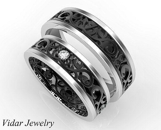 his ans her matching wedding band set diamond wedding band set unique matching wedding band set matching gothic wedding band set rings pinterest