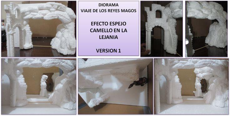 Diorama  viaje de los reyes magos - Tecnica espejo - camello en la lejania. Version 1