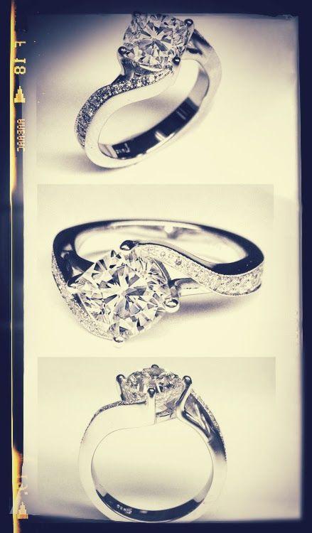 Cushion Diamond Swirl Engagement Ring