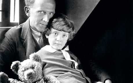 AA Milne, with his son Christopher Robin and Pooh