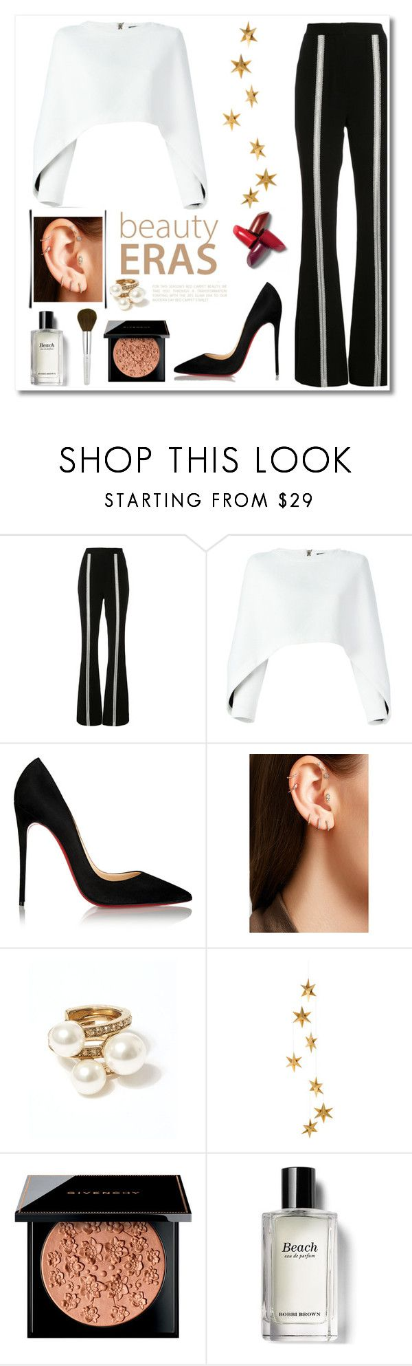 """The Ellen Show : Lined Perfection"" by swankswanker ❤ liked on Polyvore featuring Jonathan Simkhai, Balmain, Christian Louboutin, Maria Tash, Oscar de la Renta, Livingly, Givenchy and Bobbi Brown Cosmetics"