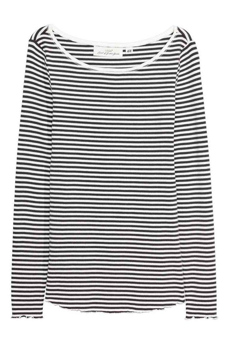 Dżersejowy top - Biały/Czarne paski - ONA | H&M PL 1