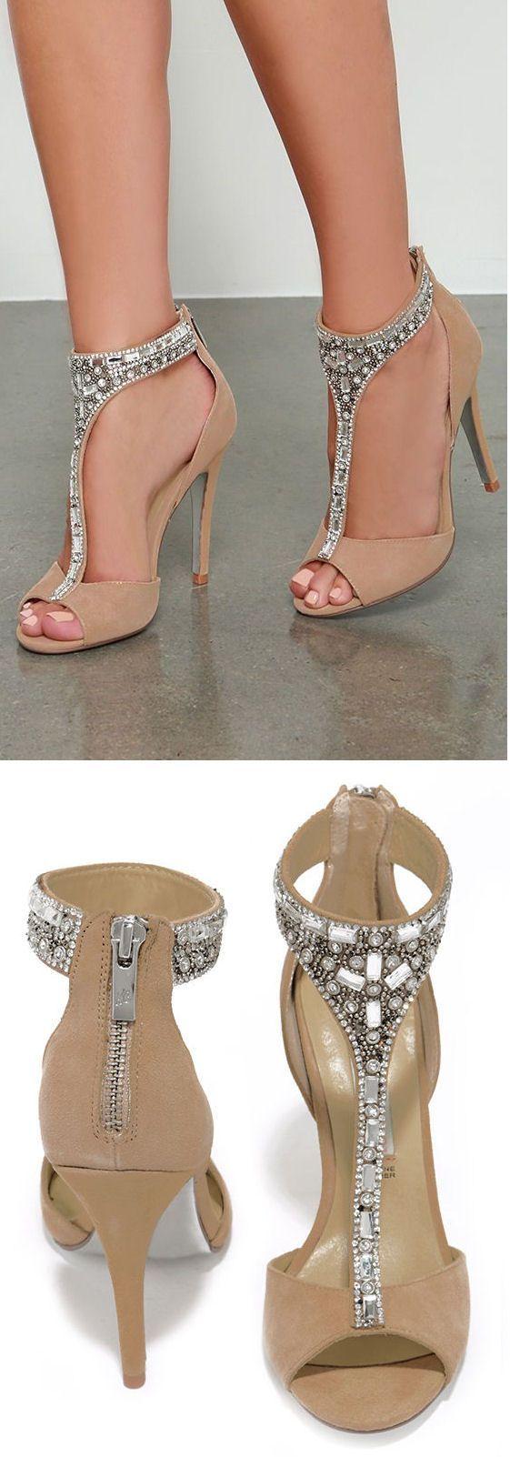 Nude Suede Bejeweled Heels