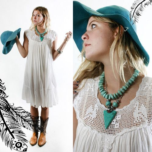 vintage 70s White, crochet-filet neckline, cotton gauzey dress... so so so cute!