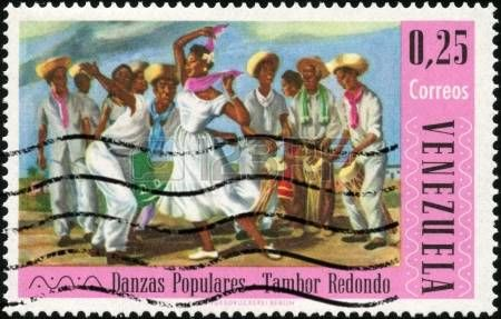 CIRCA 1966 A stamp printed in Venezuela showing traditional venezuelan dance circa 1966