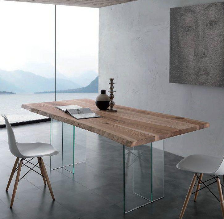 Tavolo bio glass con piano in legno massello con bordo corteccia tavoli sedie arredamento - Dwg tavolo con sedie ...