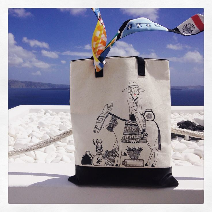 Tote Bag - Oia Santorini Greece by VIDA VIDA