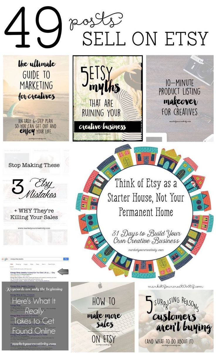 49 posts to help you sell on Etsy by Lisa Jacobs on marketyourcreativity.com