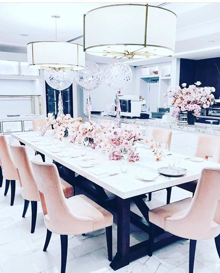How Cute Would A White Table With These Types Of Chairs Be Pink Dining Rooms Dining Room Contemporary Elegant Dining Room