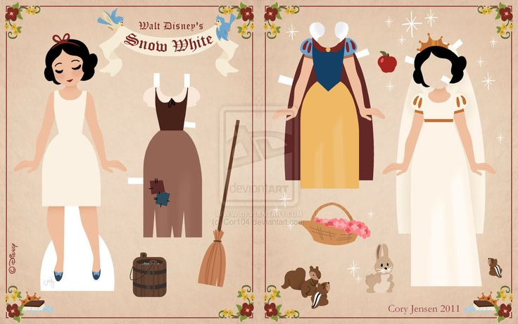 Snow White paper dolls: Crafts Ideas, Disney Fans Art, Disney Paper Dolls, Disney Princesses, Dolls Printable, White Paper, Princesses Paper, Delight Random, Snow White