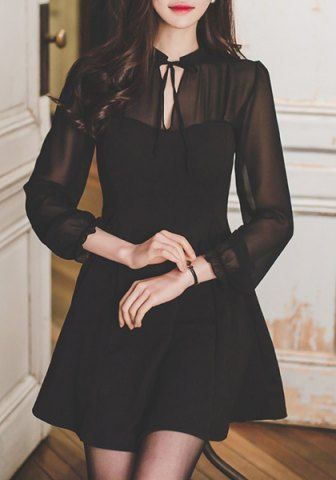 Vintage Tied Stand Collar Long Sleeve Pleated Black Chiffon Dress For Women