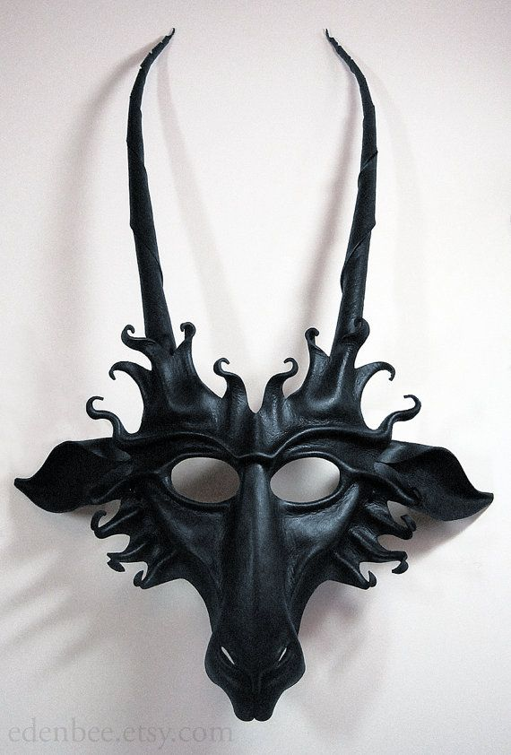 Goat leather mask in semigloss black by Eden Bachelder (edenbee). Pan, faun, Capricorn, Baphomet, devil, costume