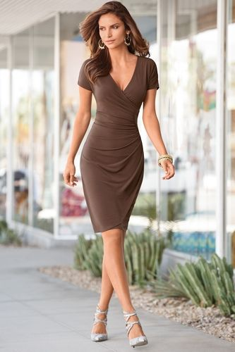 Side ruched faux wrap from Boston Proper on Catalog Spree