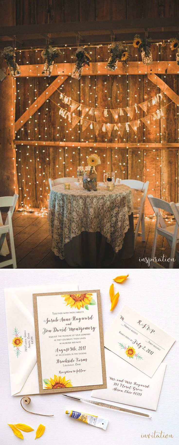 Charming rustic wedding ideas - Twinkling lights, sunflowers, lace and burlap goes perfectly with sweet watercolor sunflower wedding invitations - www.mospensstudio.com #weddingideas