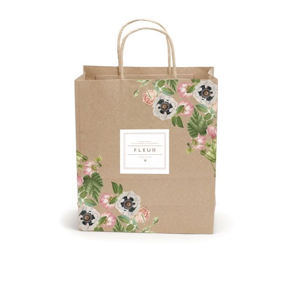 Fleur shopping bag. Kraft paper with feminine florals and clean label.