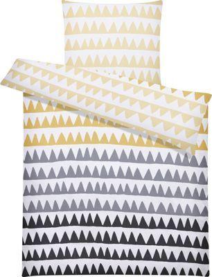 Bettwäsche aus 100% Baumwolle Renforcé in der Farbe Gelb/Schwarz/Grau. B/L: ca. 135/200cm und 80/80cm.