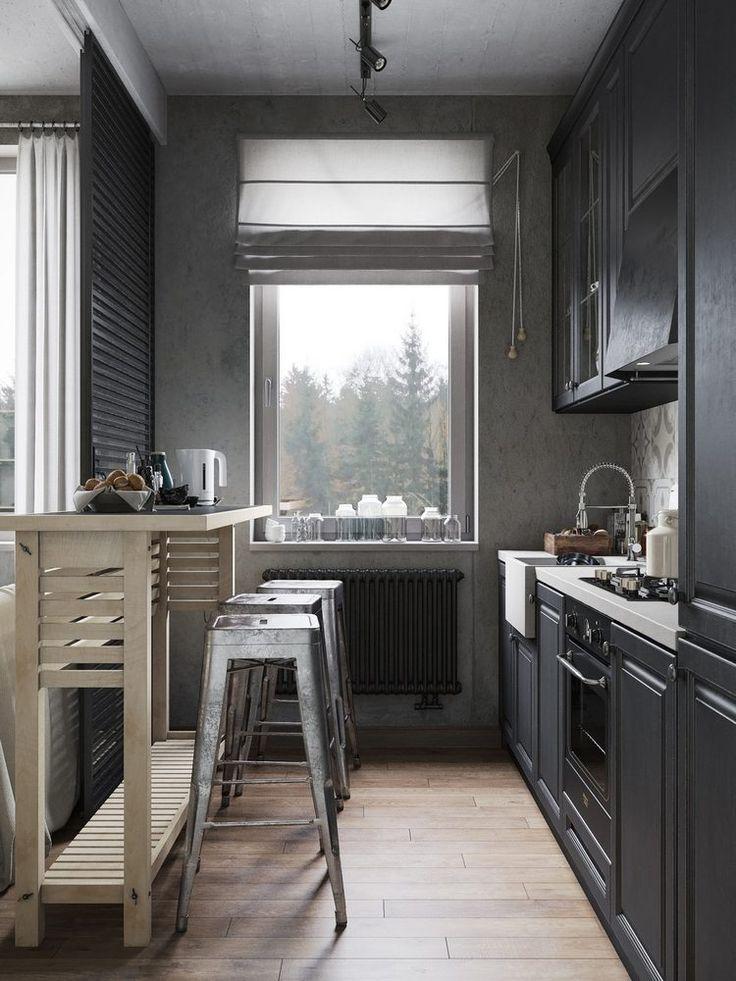 Sötét konyha egy indusztriális stílusban berendezett kis (férfias) lakásban