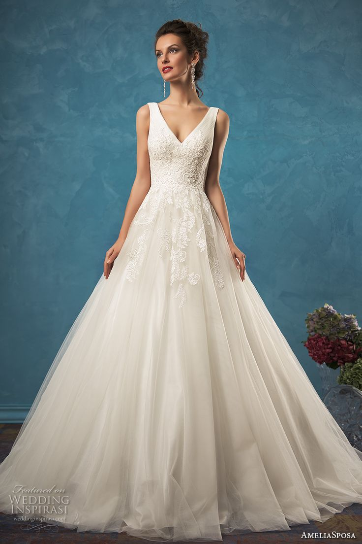 amelia sposa 2017 bridal sleeveless v neck heavily embellished bodice pretty princess a  line ball gown wedding dress v back chapel train (emma) mv