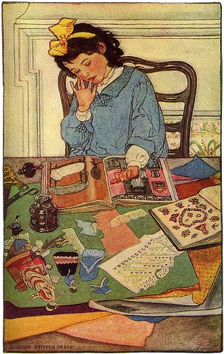 Mind of a Child (1906)  -Harpers magazine. Dec 1906-  Elizabeth Shippen Green [American Illustrator 1871-1954]  One can see quite a similarity in the styles of artists Elizabeth Shippen Green and Jessie Willcox Smith. The ladies met while studying illustration art with Howard Pyle at the Drexel Institute in Philadelphia and went on to do a children's calendar together.