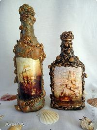 Декор предметов Декупаж Бутылки со дна морского Бутылки стеклянные Краска Ракушки фото 11