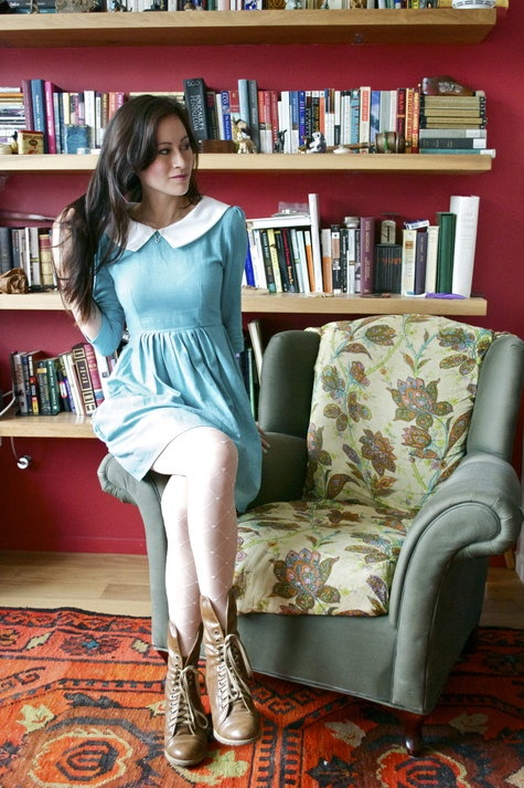 Sweet light blue dress with a white collar by peneloping via BurdaStyle