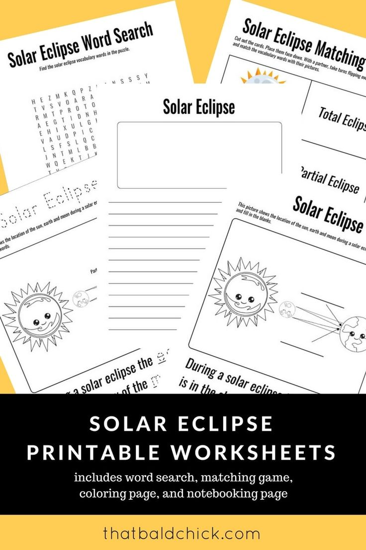 Use these solar eclipse printable worksheets to make the most of the Total Solar Eclipse 2017 with your kids!