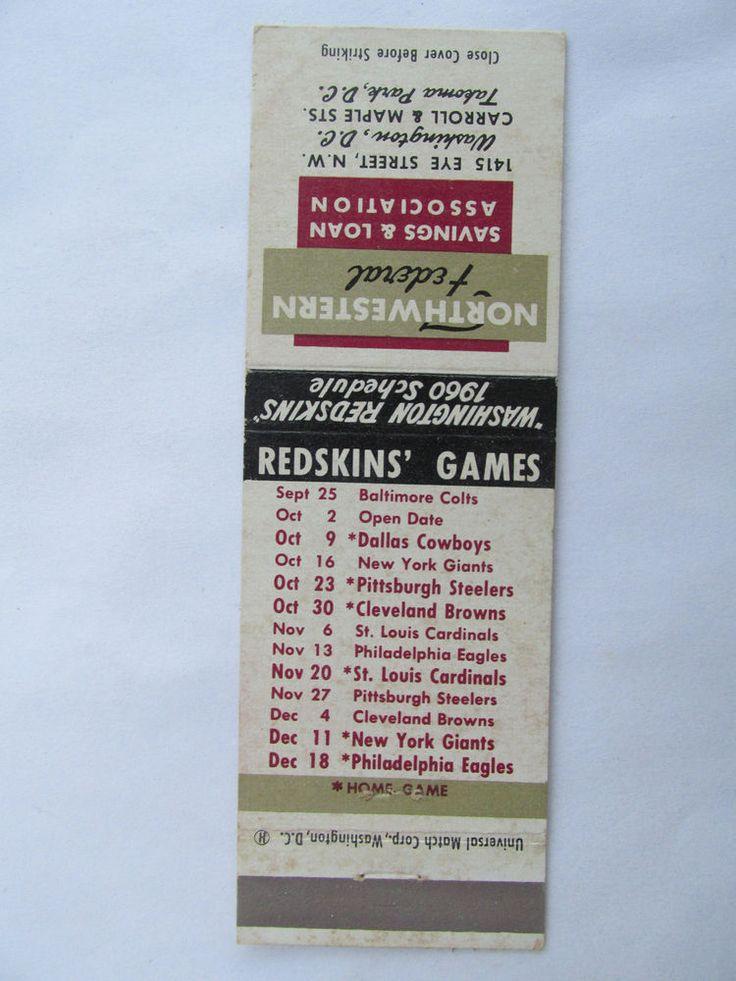 Washington Redskins Games 1960 Schedule Football Sport 20 Strike Matchbook Cover