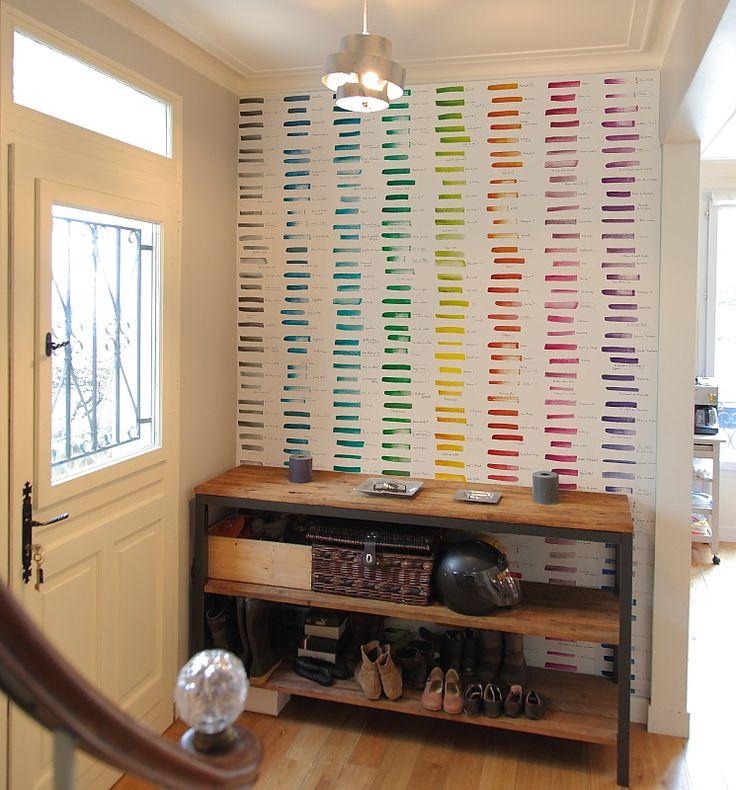 a painter's palette trompe l'oeil wallpaper .    Simple shelf...need in my studio