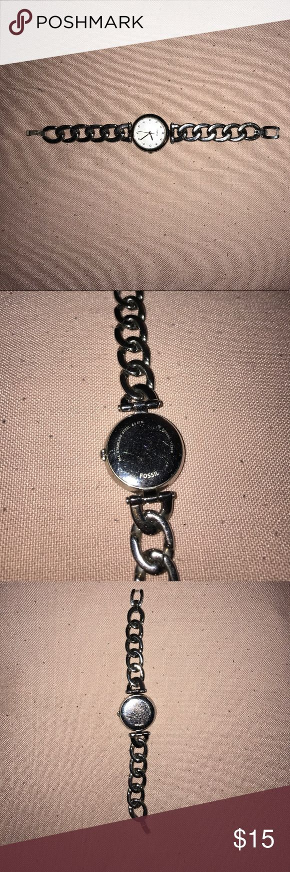 Fossil watch Bracelet link watch. minor scratches not very noticeable Battery needs to be replaced Fossil Accessories Watches