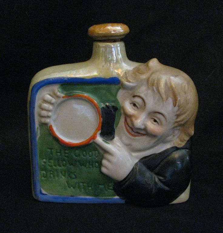 "Vintage Prohibition-Era Art Deco Figural ""Good Fellow"" Porcelain Liquor Nip / Hip Flask by Snootyparrot on Etsy"