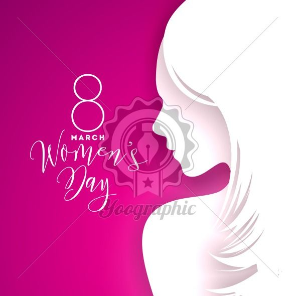 Happy Womens Day Greeting Card Design with Sexy Young Woman Silhouette. International Female Holiday Illustration with Typography Letter Design on Pink Background. Vector International 8 March Template. - Royalty Free Vector Illustration