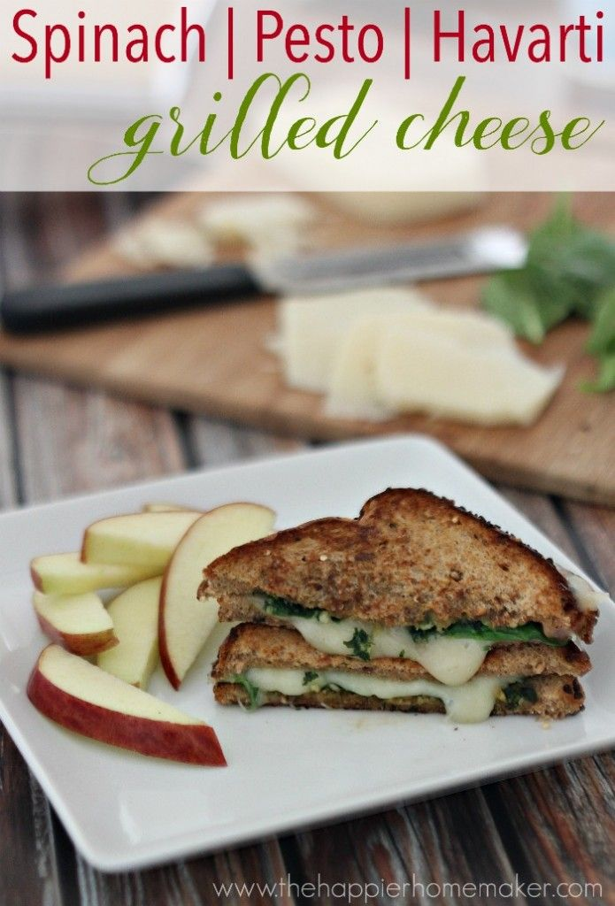 Healthy Grilled Cheese with Spinach, Pesto and Havarti! Clean eating that tastes amazing!!
