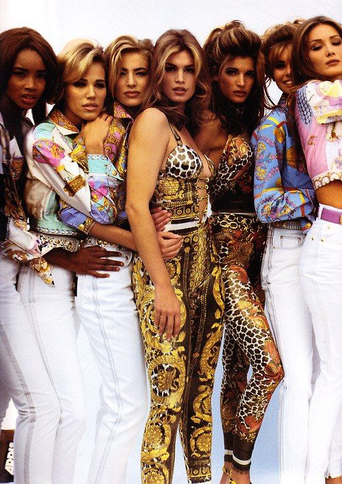 Cindy, front and center, models of the 80's and early 90's for Versace