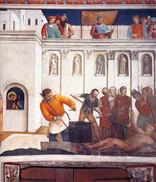 Angelico, Fra martirio de San Lorenzo  1447-1449  Fresco, 271 x 236 cm  Cappella Niccolina, papales Palacios, Vaticano