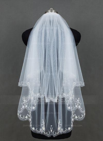 Zweischichtig Fingerspitze Braut Schleier mit Paillettenverzierung Kanten (006076547)