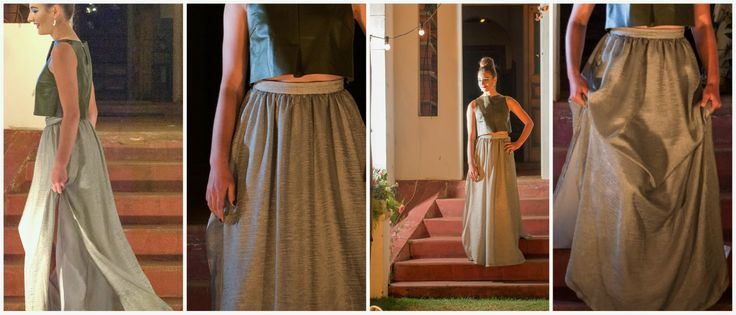 Adanna Fashion Show 2014 - Outfit #1 #croptop with #sheer #silver #skirt Materials: #leather
