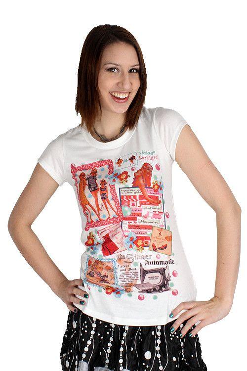 Yumi White Vintage Ad Top Retro Tee Barbi Girl Scrapbook T-Shirt K1469