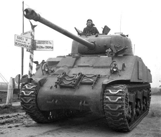 Sherman Firefly Vc tank of The Fort Garry Horse near Beveland Canal Netherlands 29Oct1944