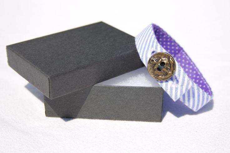 Material Anchor Bracelet - Grape Purple & White