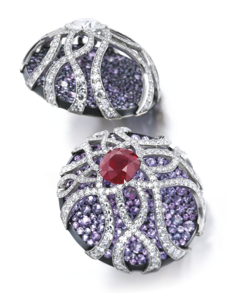 Pair of superb sapphire, ruby and diamond earrings…