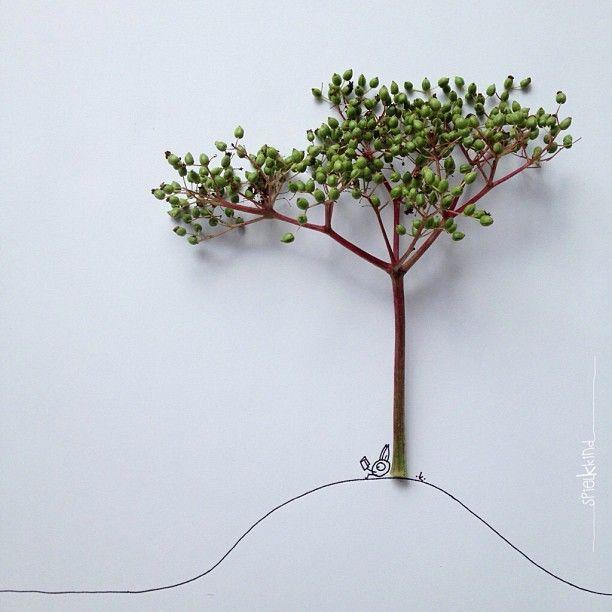 Khiesti combina la foto, ilustración y los objetos en sus ingeniosas imágenes