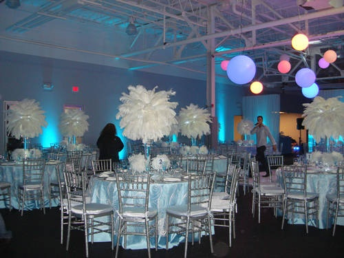 Winter wonderland themed rentals decor ostrich feather