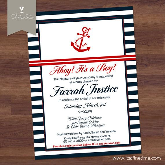 baby shower invitation anchors away nautical sailor preppy boy navy u0026 red modern white stripe diy digital printable