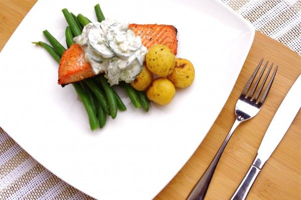 Grilled Salmon with Creamy Cucumber Dill Salad