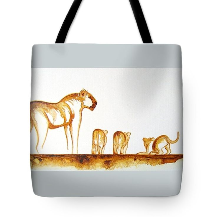 """Lioness and Cubs Small Tote Bag 18"""" x 18"""" by Tracey Armstrong"""